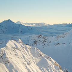 Peaks of the Swiss Alps above the Clouds, Rothorn, Lenzerheide