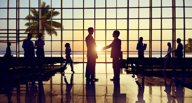 Business Handshake Corporate Partnership Agreement Beach Concept