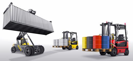 Gabelstapler mit Fracht und Containerstapler, freigestellt
