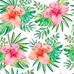 Tropical pattern. Tropical flowers and leaves for your design