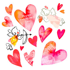 Set of hearts and cupids. Valentine Day. Watercolor heart