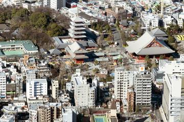 東京スカイツリー 展望回廊 地上450mから望む浅草寺 2015年2月