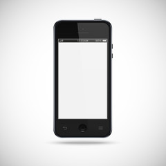 Black smartphone with a gray touch screen