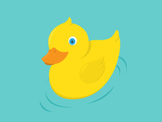 Yellow Rubber Duck, illustration in flat style
