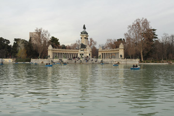In January evening in Retiro park. Madrid, Spain