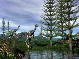 Caudipteryx dinosaurs - 3D render