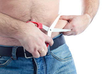 Man try to cut out fat stomach skin