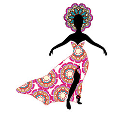 Young girl silhouette in chic long traditional dress