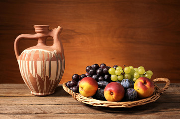 Fresh fruit in basket of wicker