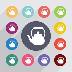 teapot circle, flat icons set