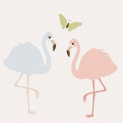 Cute flamingos and butterfly
