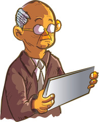 Cartoon old man using a electronic tablet