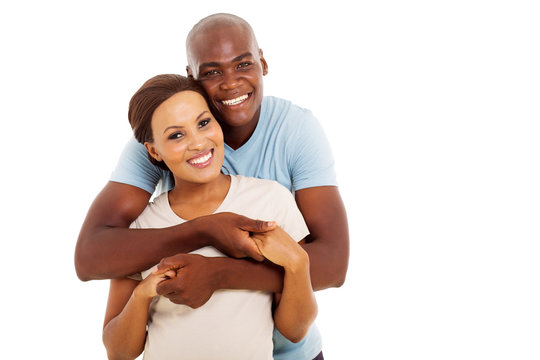 young black couple looking at the camera