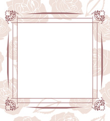 Decorative frame on seamless background with stylized roses