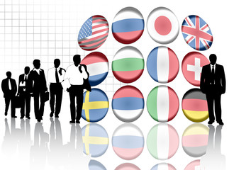 Illustration of flags and people