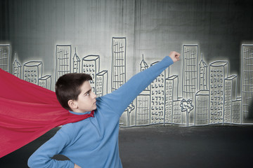 superman child in the city