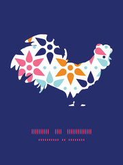Vector abstract colorful stars rooster silhouette Easter frame