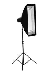 Camera flash with soft box isolated on white