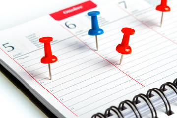 weekly agenda with spiral and coloured pins
