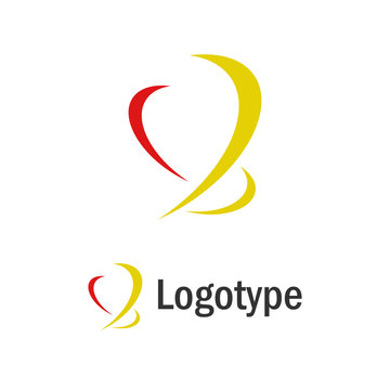 Abstract shape red and yellow logo