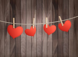 Background with red hearts on wooden texture. Valentine's day ve
