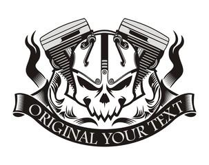motorcycle machine skull ribbon
