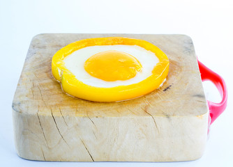 breakfast, fried egg in sweet pepper