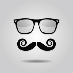 Hipster mustache and sunglasses icons on gradient background