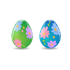 Illustration of Easter eggs with flower decoration