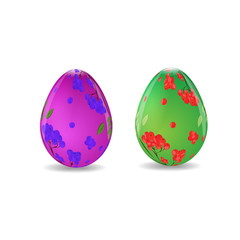 Illustration of easter eggs decorated with berries