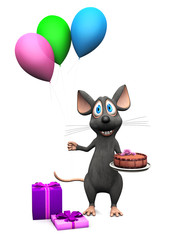 Smiling cartoon mouse holding balloons and a cake.