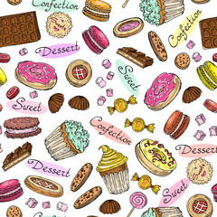 Vector pattern with hand drawn confection on white background