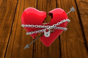 Wall Mural - Composite image of locked heart