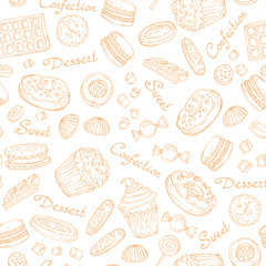 Vector pattern with hand drawn confection on white color