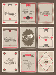 Collection of postage stamp for Valentines Day celebration.