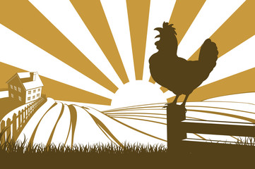 Rooster chicken silhouette crowing
