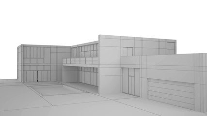 Exterior render af a modern house