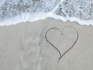 Heart written in sand