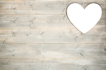 Heart cut out in wood