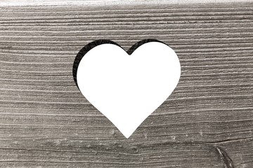 Wall Mural - Heart cut out in wood