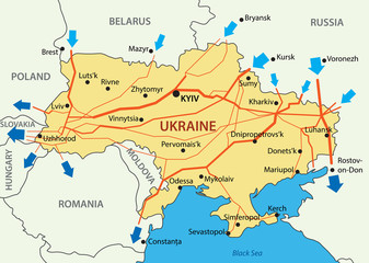 Ukrainian gas transportation system - vector