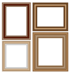 Four wooden frames isolated on white background