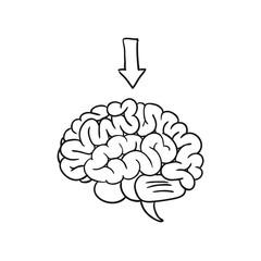 brain with arrow. vector illustration