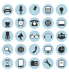 Set of flat icons in circles for web design isolated on white ba