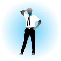 man with black tie posing vector