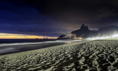 Sunset on Ipanema Beach in Rio de Janeiro, Brazil