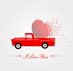 Pickup Truck with Lovely Heart