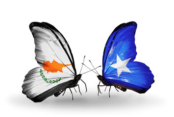 Two butterflies with flags Cyprus and Somalia