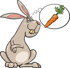 rabbit dream about carrot cartoon