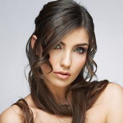 Hair. Woman face. Closeup portrait.